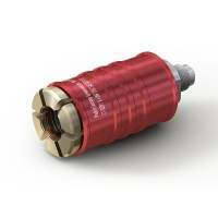 "WEH® Connector TW111 for filling refrigerants on Schrader valves  5/16"" SAE, red (high pressure), EPDM seal, max. 42 bar, inline media inlet UNF 7/16""-20 external thread"