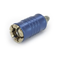 "WEH® Connector TW108 for filling refrigerants during maintenance of automotive air conditioning equipment acc. to SAE J639,  Ø 11, blue (low pressure), max. 35 bar, inline media inlet, UNF 7/16""-20 external thread (SAE J513 - 45°)"